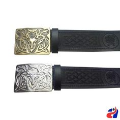 Stag Embossed 100/% Black Leather Quality Buckle Kilt Belt
