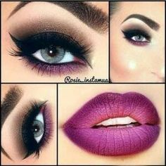 Wine lip color & smokey eye