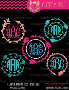 Boho/ Indian Arrow Monogram frames Svg cutting file by CutesyPixel Cricut Monogram, Monogram Decal, Monogram Design, Monogram Fonts, Monogram Letters, Monogram Initials, Monograms, Silhouette Clip Art, Silhouette Machine