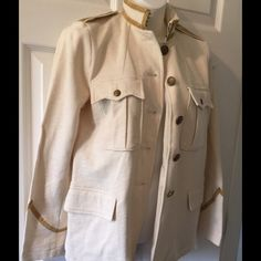 NWT RL Denim &Supply Jacket M Cream color Military look jacket  Size M Gold accents  $198 retail Ralph Lauren Jackets & Coats Pea Coats