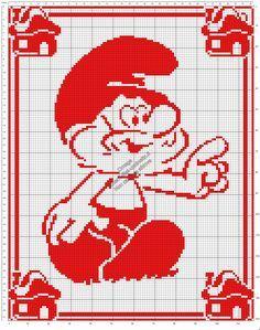 Schema gratis filet uncinetto copertina neonato con Grande Puffo 117x150