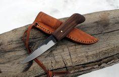 Hand Forged Knife: 1095/Walnut. $100.00, via Etsy.