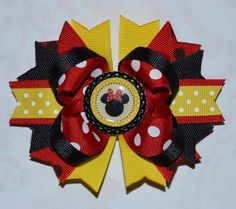 Disney Inspired Minnie Mouse Layered Boutique Hair Bow. $6.50, via Etsy.