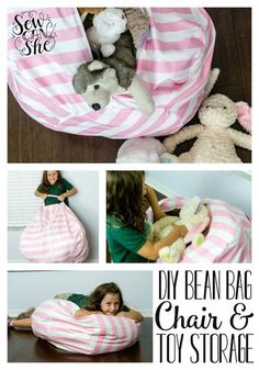 Tutorial: Bean bag chair with stuffed animal storage