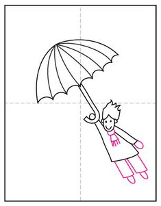 Learn how to draw a windy day by showing someone flying away on an umbrella. Make sure to add some flying hair too! Liquid Watercolor, Watercolor Paper, Projects For Kids, Art Projects, Directed Drawing, Little Girl Names, Sharpie Markers, Windy Day, Stock Art