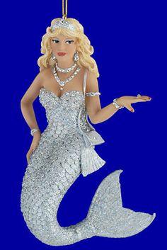 Mermaid Ornament, Zirconia, by December Diamonds Beach Christmas, Christmas Tree Themes, Christmas Tree Ornaments, Holiday Decor, Mermaid Ornament, Sea Siren, Mermaid Under The Sea, Mermaids And Mermen, Classic Paintings
