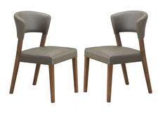 Baxton Studio Montreal Mid-Century Dark Walnut Wood and Grey Faux Leather Dining Chairs