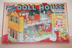 VINTAGE~1943~FOUR ROOM CARDBOARD DOLL HOUSE~COMPLETE WITH FURNITURE~BOXED~UNUSED