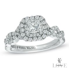I LOVE this ring!  Vera Wang LOVE Collection 1 CT. T.W. Princess-Cut Diamond Double Frame Twist Engagement Ring in 14K White Gold-