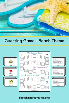 Work this guessing game into your sessions to address vocabulary and reasoning skills. Students try to figure out the beach related words with as few clues as possible in order to score the most points. A game board is provided, but the game can be played with just the clue cards if desired.  Included are instructions, 24 clue cards, 24 picture cards, anda game board. Speech Therapy Games, Speech Language Pathology, Therapy Activities, Therapy Ideas, Speech And Language, Path Ideas, Guessing Games, Game Start, Picture Cards