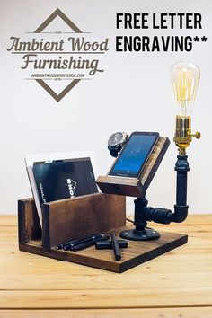 Industrial Pipe Lamp With IPad support and Apple watch dock
