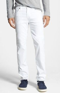 Men's 7 For All Mankind 'Slimmy' Slim Straight Leg Jeans (White Denim)  #jeans #denim The white overdyed denim wash of these wardrobe-essential jeans brightens your style in a slim, straight leg fit. Matte black hardware reinforces the style with distinctive contrast to the vibrant white shade.