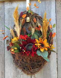 Fall Wreath Fall Door Hanging Basket Thanksgiving by AtEaseAcres, $55.00