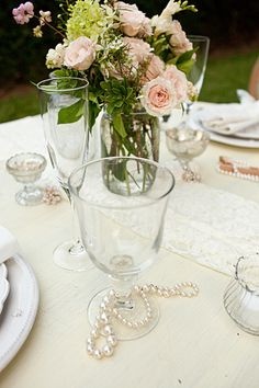 wedding center pieces like the strewn pearls lace