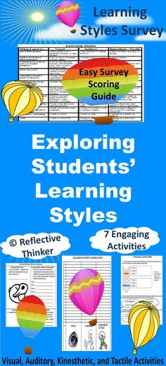 BULLETIN BOARD idea.  Help your students discover how they learn best. Show students that peers often learn differently. This valuable, authentic learning resource includes a learning styles inventory as well as engaging learning styles related activities that appeal to all types of learners. These interactive materials make a great bulletin board display, or use the data results on your data board. It is most appropriate for elementary and middle school learners.
