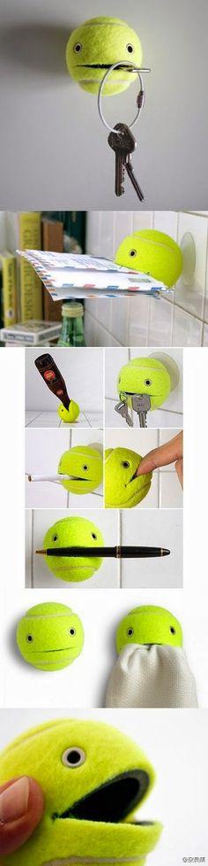 No Solo DIY: Reciclar pelota de tenis para hacer un colgador