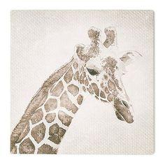 Graham & Brown Patch Giraffe Animal Neutral Tones Linen Textured Printed Canvas Wall Art | Debenhams