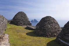 The stone huts of the Irish island of Skellig Michael, where scenes were filmed…