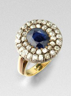 Saphirring mit Diamanten19. Jh. Silber über Rotgold, Ringschiene aus Gelbgold