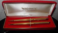 VINTAGE 1950s 24kt Pen & Pencil Set Hardcase NOS WINGAMATIC Mid Century Modern