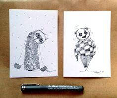 2 Hand Drawn Cards - Original Art Work - OOAK Blank Greeting Cards-winter scribbles on Etsy, $24.83