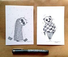 2 Hand Drawn Cards - Original Art Work - OOAK Blank Greeting Cards-winter scribbles on Etsy, $24.83