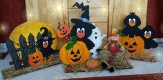 Halloweendekoration mit Raben, Kürbis und Geist aus Holz - creadoo.com