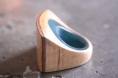 Birch Bark and Blue Resin Ring - Trevor O'Neil Design
