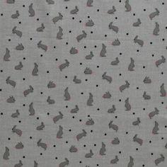 Vævet bomuld grå med kaniner