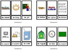 Stempelkaarten school met lidwoord » Juf Sanne Learn Dutch, Live Life Love, Learning Resources, Spelling, Homeschool, Logos, Children, Crafts, Young Children
