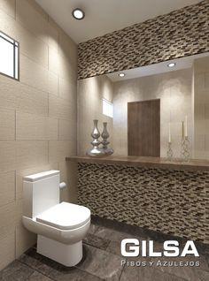 Cuarto de baño de estilo contemporáneo. Materiales utilizados: (En muro): Malla Bodrum 30x30 de DekoStock y Porcelanato Tempo Dune 30x60 de Firenze. (En piso): Porcelanato Imagica Brown 15x120 y 30x120 de Daltile.