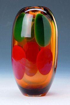Karel Wuensch, 1960, Vase, H: 30,5 cm, glassworks Novy Bor (Haida), Czechoslovakia
