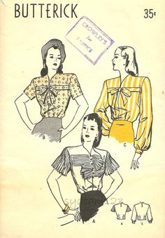 Vintage 1940s Rare Blouse Pattern Horizontal Pleated Sleeve and Jabot or Banded Front Bow Tie 1947 Butterick 4074 Bust 34 UNCUT