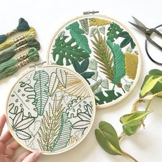 Embroidery Beginners Welcome to the Jungle Embroidery Pattern. Jungle Leaves Design. Botanical Art. Instant Download PDF. DIY Home Decor. Beginner Embroidery. - THIS LISTING IS FOR A DOWNLOADABLE PDF PATTERN. NO ITEM WILL BE SHIPPED TO YOU.  This listing is for the April