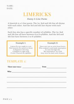 How to Write a Limerick in 5 Steps (Free Limerick Templates) Limerick Poem, Writing Ideas, Creative Writing, Writing Prompts, Teaching Poetry, Teaching Kids, Limerick For Kids, Irish Limericks, Ireland