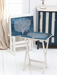 coral blue tv tray tables