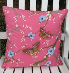 Butterfly Pillow - Pink/Green #butterfly #pillow