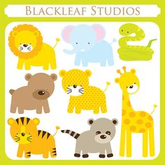 Baby Animals Clip Art Instant Download- cute, lion, giraffe, tiger, leopard, snake, safari, racoon, bear, jungle- Personal and Commercial