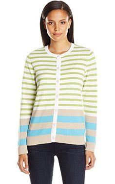 Pendleton Women's Placed Stripe Cardigan Sweater, White/Lemongrass Multi, Small ❤ Pendleton Women's Collection
