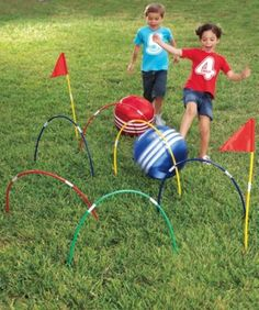 Play a game of kick croquet using hula hoops.and lots of other fun summer activities Backyard Games, Outdoor Games, Outdoor Play, Backyard Ideas, Outdoor Toys, Backyard Projects, Giant Yard Games, Yard Games For Kids, Kid Games