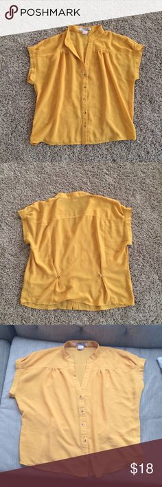 Mustard Yellow Sheer Shirt Medium Nice fall piece also layering piece. Bundle and save of make your your offer Forever 21 Tops Blouses