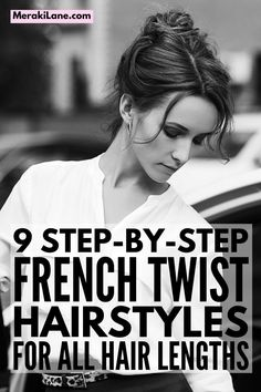 9 French Twist Hairstyles for All Hair Lengths | Whether you have short, medium length, or long hair that's straight, wavy, or curly, the French twist updo is a simple yet elegant way to style your hair. If you want to know how to do a French twist on your own hair, this post has lots of step by step hair tutorials to teach you. Perfect for a wedding, prom, work, or lazy weekend, we've curated a mix of classic and modern styles, including sleek looks and messy, loose styles. Modern French Twists, Messy French Twists, French Twist Updo, Damp Hair Styles, Medium Hair Styles, Short Hair Styles, Classic Hairstyles, Twist Hairstyles, French Twist Tutorial