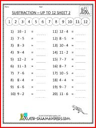 Subtraction up to 12, a subtraction math worksheet for 1st grade. ***{{Can generate own math sheets to differentiate instruction. Great site!}}***