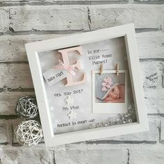 This handmade frame is the perfect gift for any little girl for a birthday or christening, or to welcome a new baby. A beautiful piece of nursery decor. That makes for a lovely keepsake. All words, details and decoration are customisable, so just let us know and we can write whatever you wish. (aslong as it fits!) This design includes space for you to attach your own treasured photograph easily to the back. **ordering information** After youve added to cart there is a note to seller box…