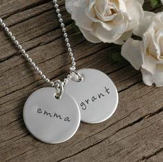 Hand Stamped Necklace  Two 3/4 inch discs  by divinestampings, $30.00