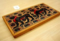 Vintage Mid Century Greek Panther Enamel TIle by SpiralCreations