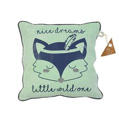 """Cuddle up with a friendly fox - pillow from the Forest Ranger collection. This square cushion has a fun fox print on the front with the saying """"nice dreams little wild one"""". Bed Guard, Play Beds, Friendly Fox, Fox Pillow, Childrens Desk, Navy Nursery, Nice Dream, Mint And Navy, Fox Print"""