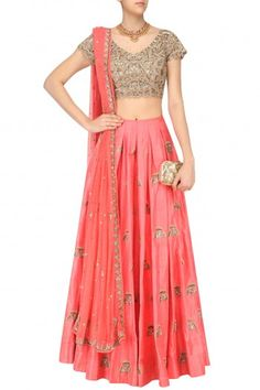 Arpita Mehta Coral Gingko Butti Embroidered Lehenga Skirt and Blouse Set #happyshopping #shopnow #ppus