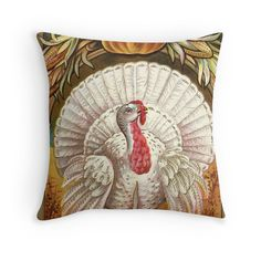 Thanksgiving White Turkey Throw Pillows. Restored original vintage art for americana fall / autumn decor by Meteora Digital Art.