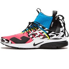 The Acronym x Nike Air Presto Mid Racer Pink is a highlight from the second round of colorways of the groundbreaking model that came out in Acronym founder Errolson Hugh redesigned the classic Presto into a mid-top silhouette and incorporated his Nike Air, Air Presto, Pink Photo, Black Silhouette, Two By Two, Blue And White, Design Inspiration, Sneakers, Design Language